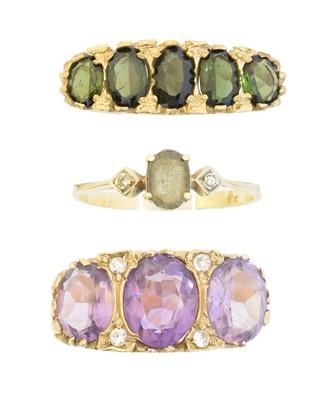 Lot 64 - Three 9ct gold dress rings