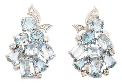 Lot 53 - A pair of aquamarine and diamond earrings