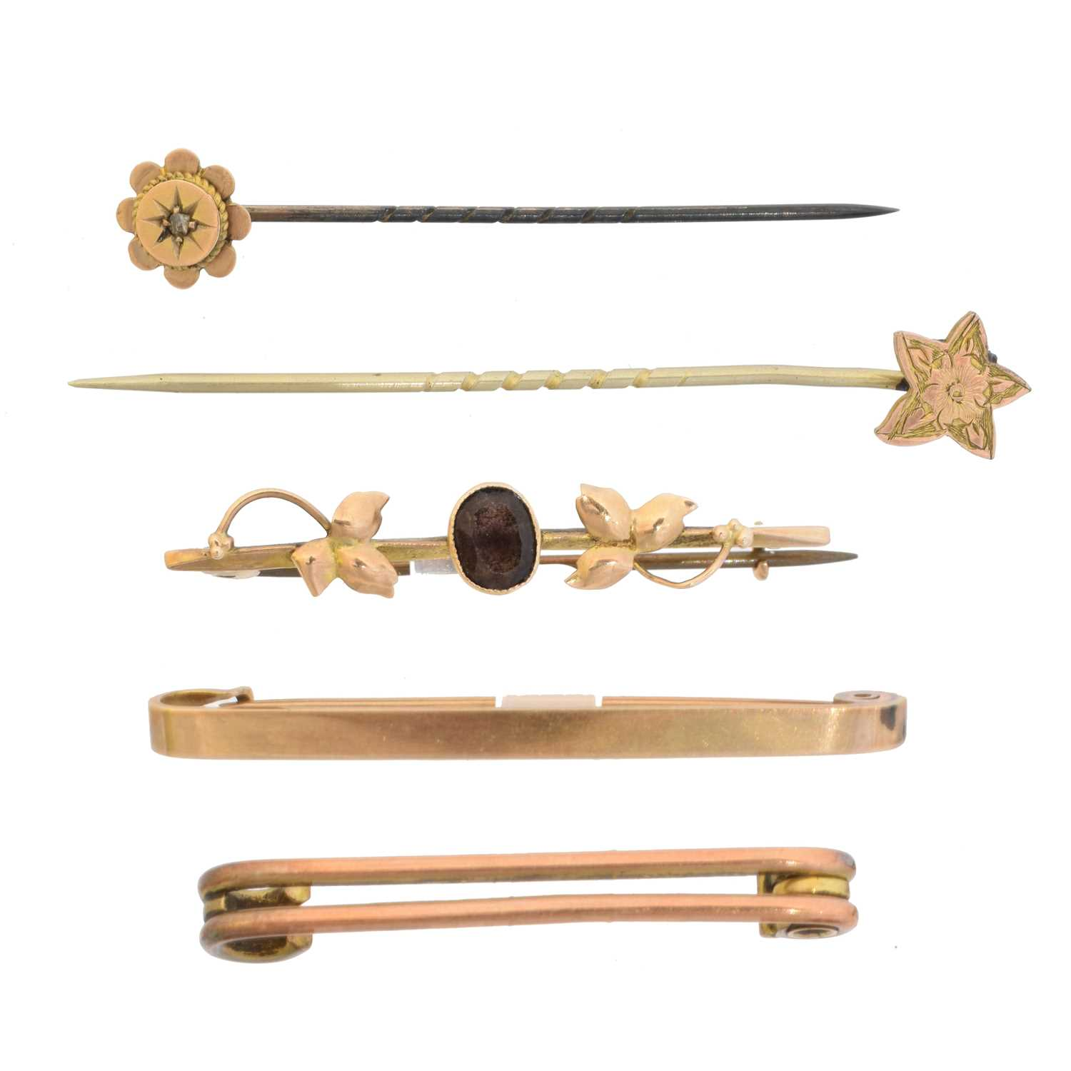 Lot 8 - A selection of brooches and stick pins