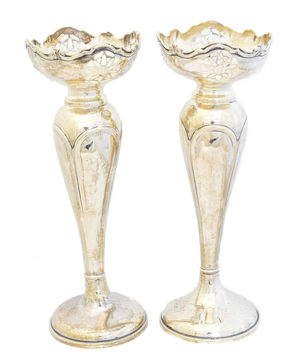 Lot 121 - A pair of George V silver vases