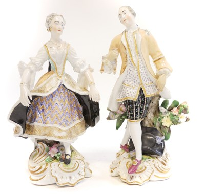 Lot 226 - Pair of English porcelain Meissen style figures