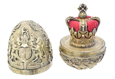 Lot 144 - A silver gilt and enamel 'Silver Jubilee' surprise egg by Stuart Devlin