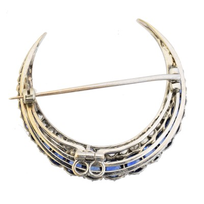 Lot 13 - A sapphire and diamond crescent brooch
