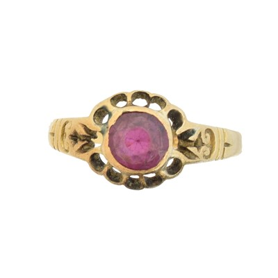 Lot 47A - A late Victorian 18ct gold garnet single stone ring