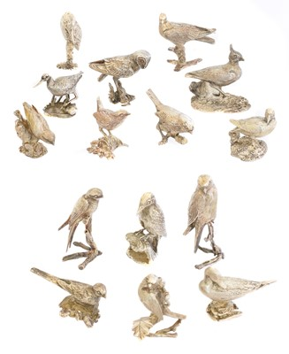 Lot 134 - A set of fifteen silver models of birds
