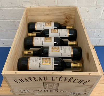 Lot 5 - 6 Bottles (in OWC) Chateau L'Eveche Pomerol 2015 (all i/n)