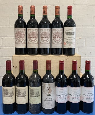 Lot 44 - 12 Bottles Mature Classified Growth Pauillac in excellent condition