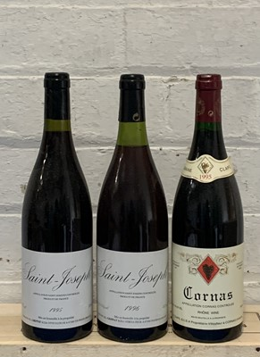 Lot 95 - 3 Bottles Mixed Lot Saint Joseph Domaine JL Grippat and Cornas Domaine A Clape