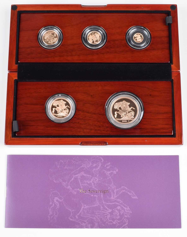 Lot 47 - Elizabeth II, United Kingdom, 2021, The Sovereign Five-Coin Gold Proof Set, Royal Mint.