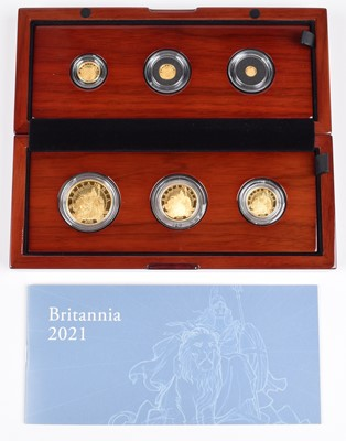 Lot 48 - Elizabeth II, United Kingdom, 2021, The Britannia Six-Coin Gold Proof Set, Royal Mint.
