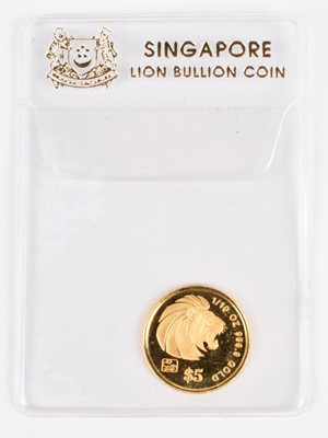 Lot 53 - A Singapore 1996 $5 Lion Bullion Coin, 1/10th of an ounce.