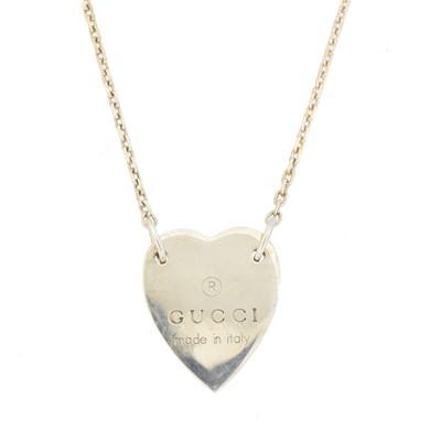 Lot 15 - A silver Gucci Heart Pendant Necklace
