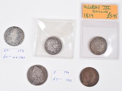 Lot 24 - George II Shilling, Three George III Shillings and one counterfeit George III Shilling (5).