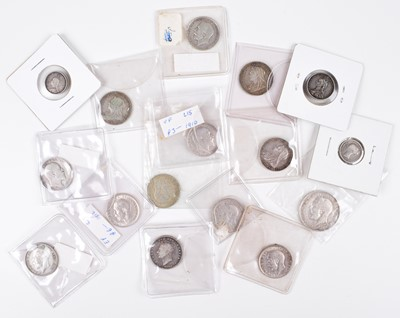 Lot 16 - Selection of mainly silver coinage from George III to George V, mainly shillings.