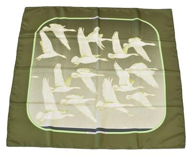 "Lot 31 - A Hermès ""Oiseaux Migrateurs"" silk scarf by Cathy Latham"