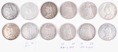 Lot 29 - A selection of Queen Victoria, Double-Florins, silver (12).
