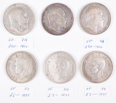 Lot 37 - Three Edward VII 1902 silver crowns, various grades and three George VI 1937 crowns (6).