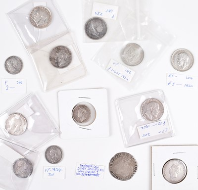 Lot 19 - Selection of mainly silver historical shillings and sixpences from Charles I to George V.