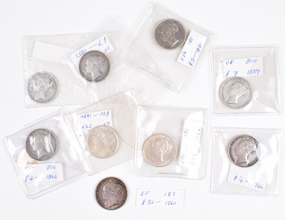 Lot 26 - Selection of Queen Victoria young head mid to high-grade silver shillings (9).