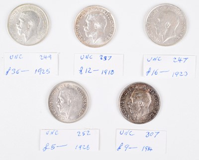 Lot 45 - Selection of King George V Shillings, all in high grades (5).