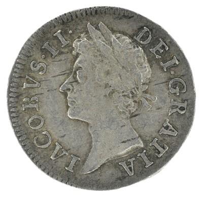 Lot 22 - King James II, Twopence, 1686 IΛCOBVS.