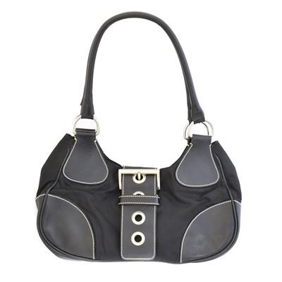 Lot 26A - A Prada Black Nylon Classic Buckle Hobo Bag