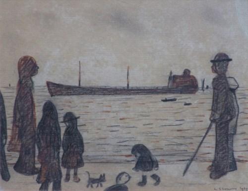 494 - L.S. Lowry, People on a Promenade, felt-tip pen and pencil.