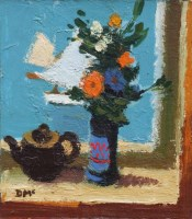 303 - Donald McIntyre, Flowers, Teapot and Sails, oil.