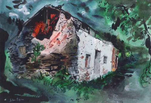 353 - John Piper, Ruined Cottage, mixed media.