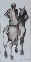 358 - Geoffrey Key, Horse and Rider II, ink and wash.