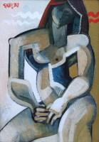 282 - Geoffrey Key, Standing Figure, oil.
