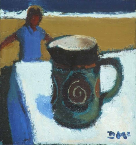 292 - Donald McIntyre, Girl and Jug, oil.