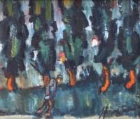 296 - William Turner, Six Trees, oil.