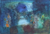 367 - John Piper, Lane towards the Rocks, Pembrokeshire, mixed media.