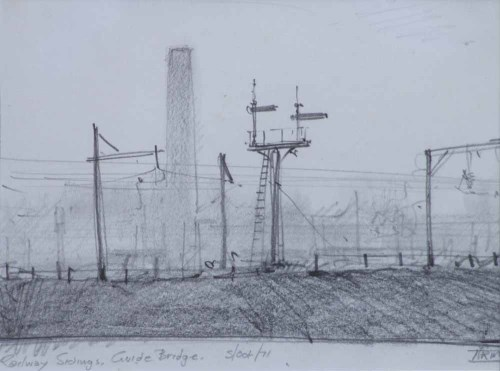 394 - Trevor Grimshaw, Railway Sidings, Guide Bridge, pencil.