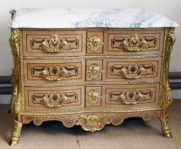 517 - Marble topped and gilt metal chest of drawers.