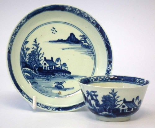 Lot 109-Vauxhall teabowl and saucer circa 1755   painted