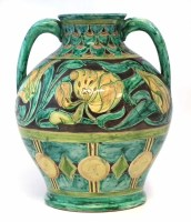 195 - Della Robbia twin handled vase   incised by