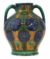 217 - Della Robbia twin handled vase   painted with a