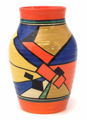 Lot 284-Clarice Cliff, Isis vase cubist pattern.