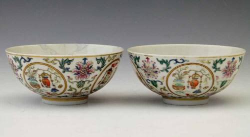 320 - Pair of Famille rose medallion bowls.
