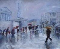 472 - Sue Atkinson, Day Out, Trafalgar Square, oil.