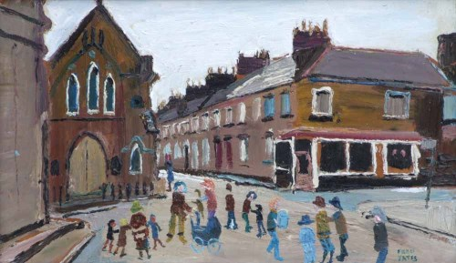 Lot 511-Fred Yates, Back Street, Penzance, oil.