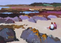 543 - Donald McIntyre, Two Figures on the Shore, No.2, acrylic.