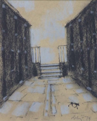 606 - Harold Riley, Blackfriars, Manchester, charcoal and pastel.