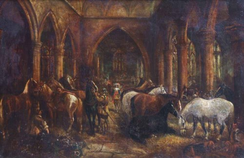 Lot 648-Herbert St. John Jones, Lord Byron's horses stabled in Acton Church during the Siege of Nantwich, 1644, oil on canvas.