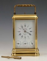 701 - Brass carriage clock by L'Epee Sainte Suxanne,
