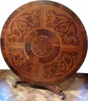 715 - Victorian marquetry circular breakfast table.