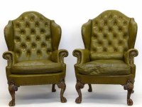 723 - Pair of wing-back chairs.
