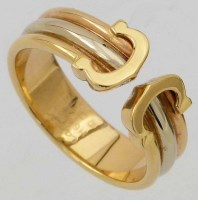 386 - Cartier 750 bi-coloured gold ring composed of